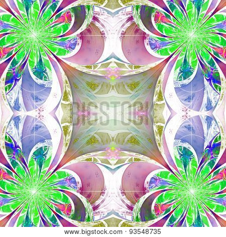 Pattern From Fractal Flowers. Green, Blue And Brown Palette. Fractal Design.