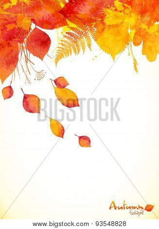 Red watercolor autumn leaves fall leaflet background