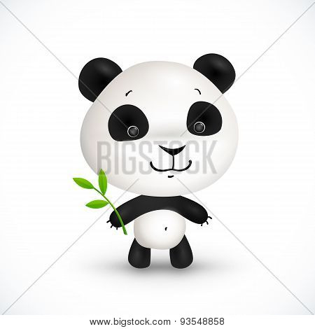 Little cute vector panda bear with green leaves