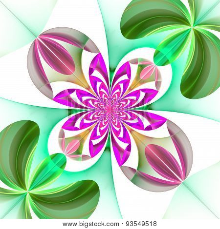 Diagonal Symmetrical Pattern Of The Flower Petals. Green And Purple Palette.