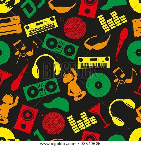 Music Club Dj Color Icons Seamless Pattern Eps10