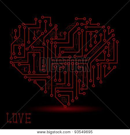 Printed Dark Red Electrical Circuit Board Heart Symbol Eps10