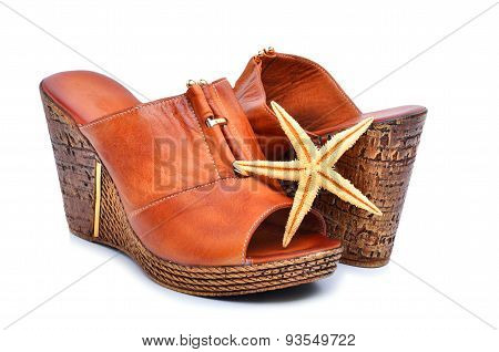 Woman Shoes With Starfish Isolated On White
