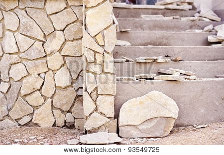 Natural stones on a wall