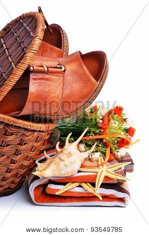 Woman Shoes In The Basket Isolated On White