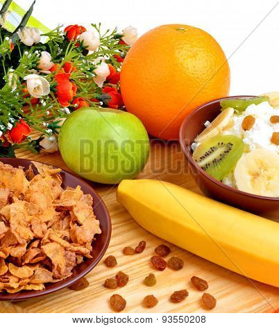 Healthy Food. Fresh Fruit And Dry Loaves With Curd On A Wooden Background;