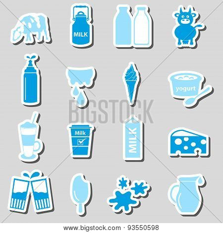 Milk And Milk Product Theme Stickers Set Eps10