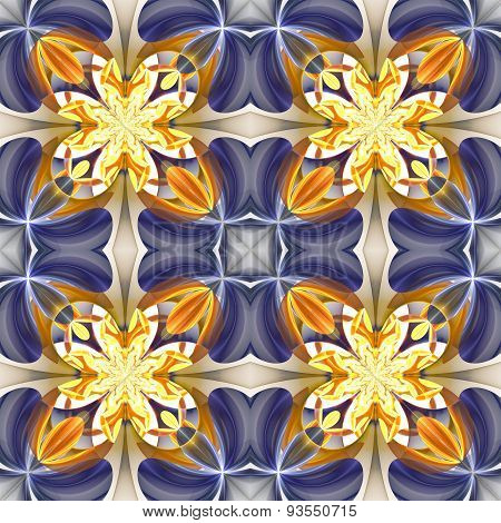 Beautiful Symmetrical Pattern Of The Flower Petals In Fractal Design. Blue And Beige Palette.