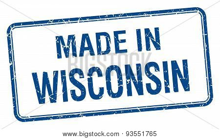 Made In Wisconsin Blue Square Isolated Stamp