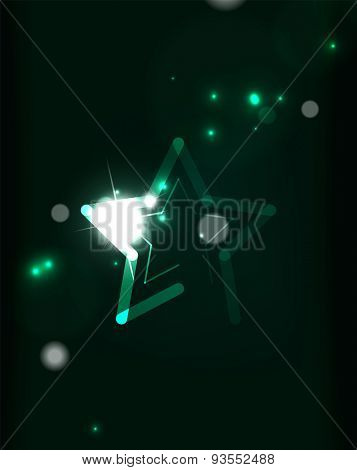Glowing star and blending colors in dark space. Abstract background