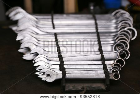 Set of wrenches on table close up