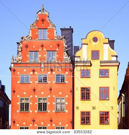 The most famous houses on Stortorget square in Stockholm, Sweden