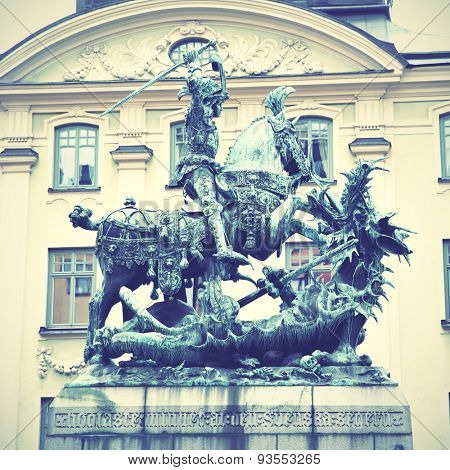 Statue of Saint George and Dragon in Stockholm. Instagram style filtred image