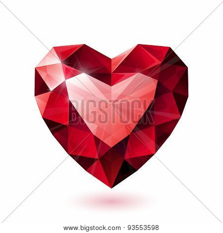 Shiny isolated red ruby heart shape on white background