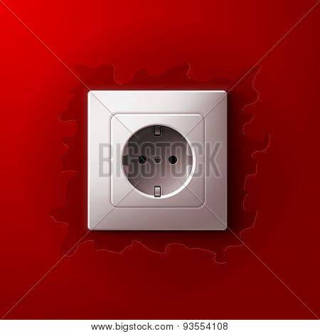 Realistic electric white socket on red wall background