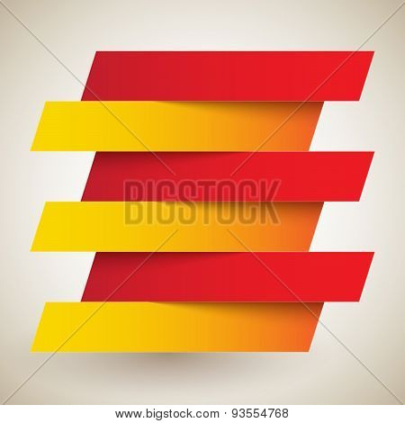 Infographics red and orange paper rectangle banners with shadows