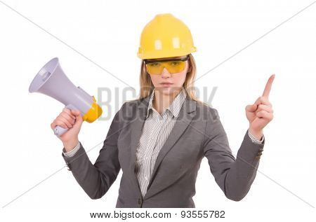 Construction employee with megaphone isolated on white