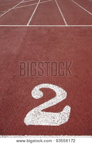 Number Two Signpost In An Athletic Running Track