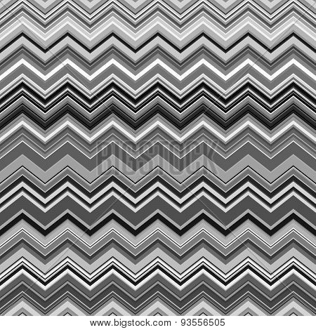 Abstract black, white and grey zig-zag warped stripes ethnic pattern