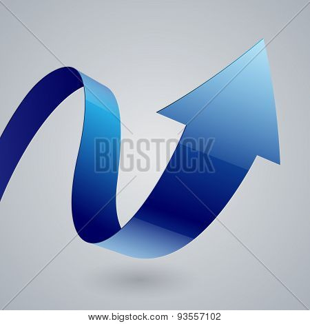 Isolated blue glossy fabric curved arrow ribbon on grey backgrou