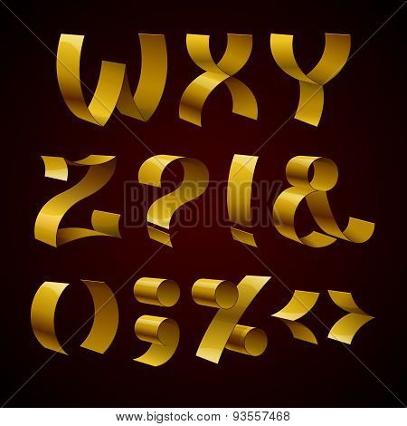 Set of isolated golden shiny ribbon font W-Z letters and punctua