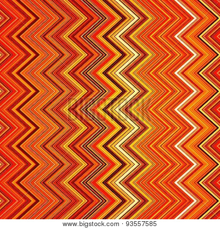 Abstract red, orange, white and black zig-zag warped stripes eth