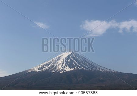 Mount Fuji Views In Blue Sky Background.