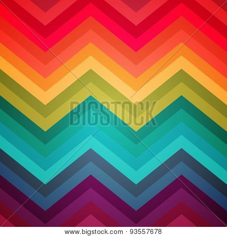 Abstract rainbow zig-zag warped stripes ethnic pattern backgroun