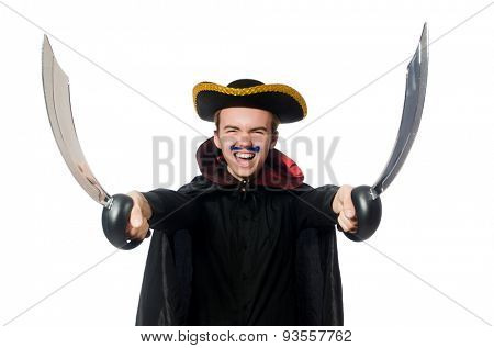 Young pirate holding sword isolated on white