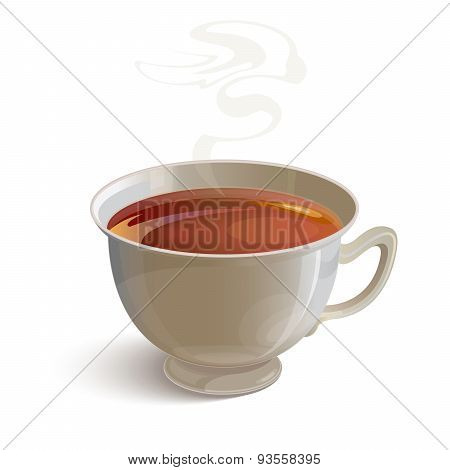Isolated realistic white tea cup with vapor