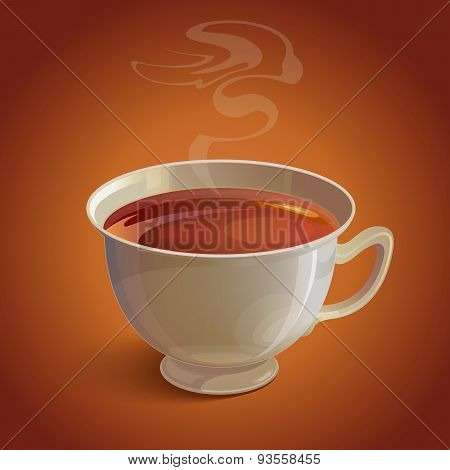 Isolated realistic white tea cup with vapor on brown background