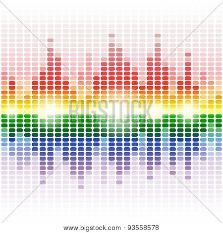 Rainbow shining digital equalizer on white background