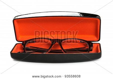 Eyeglasses in case on a white background
