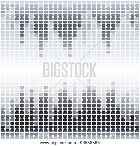 Grey and black digital equalizer on white background
