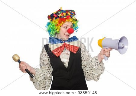 Female clown holding megaphone isolated on white
