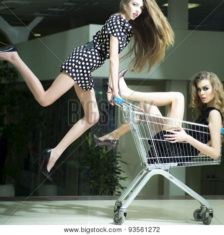 Funny Girls With Shopping Trolley