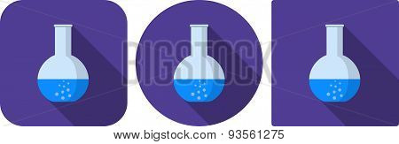 Icon Of Flask With Water For The Experiment In Flat Design