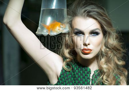 Sexy Girl With Goldfish