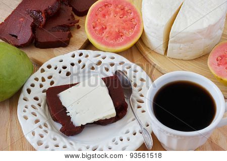 Dessert Romeo And Juliet Of Goiabada, Minas Cheese, Coffee