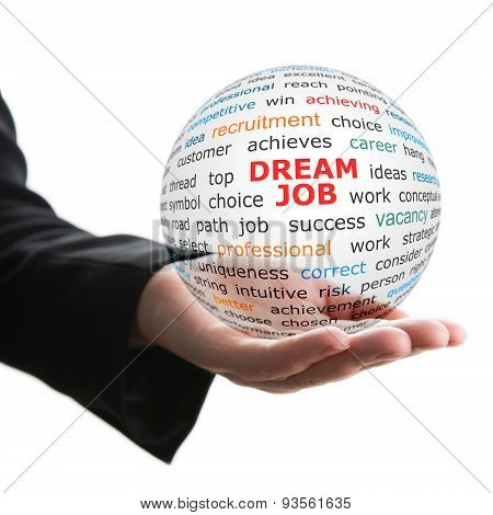 Transparent ball with inscription dream job