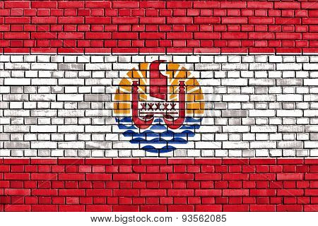 Flag Of French Polynesia Painted On Brick Wall
