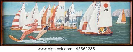Retro Painting Which Depicts A Sailing Regatta