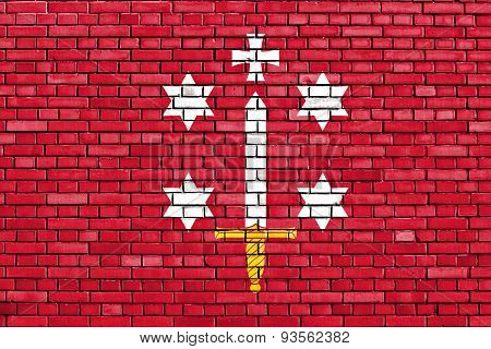 Flag Of Haarlem Painted On Brick Wall