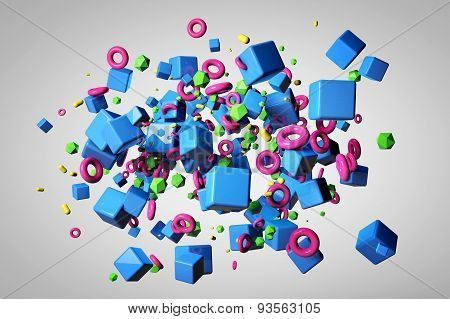 Explosion Of Different 3D Objects In Empty Space. 3D Render Image.
