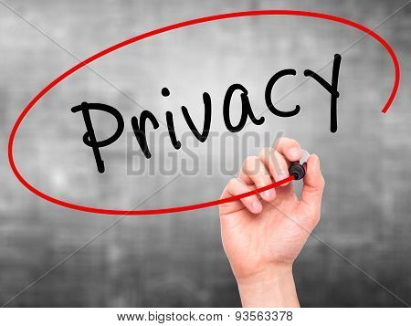 Man Hand writing Privacy with black marker on visual screen.