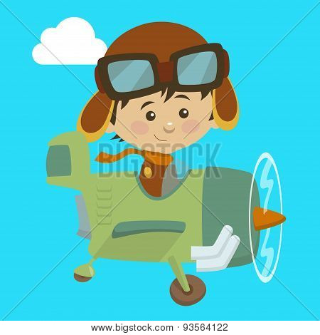Cute airplane with kid aviator