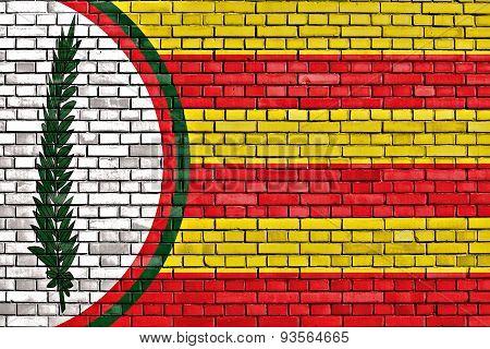 Flag Of Saus, Camallera I Llampaies Painted On Brick Wall