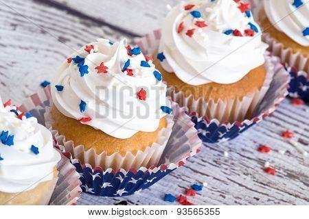 Cupcakes With Patriotic Sprinkles