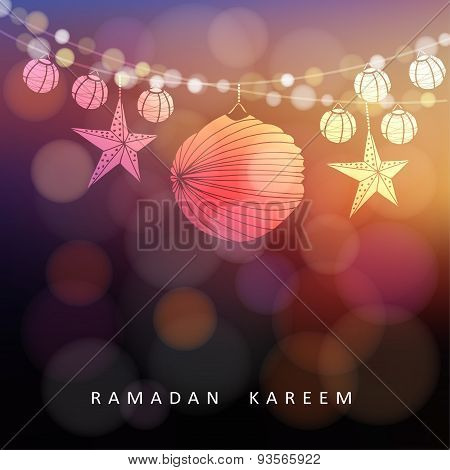 Illuminated Paper Lanterns And Stars With Lights, Ramadan Vector