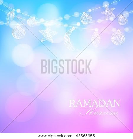 Moon, Stars, Bokeh Lights, Ramadan Vector Illustration